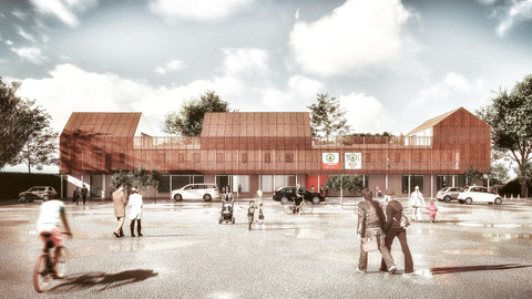 SPAR KALKEN, mixed use project met supermarkt, restaurant en 9 woningen te Kalken