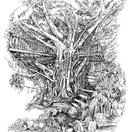 34.) Tree House Black and White (12 in Stock)