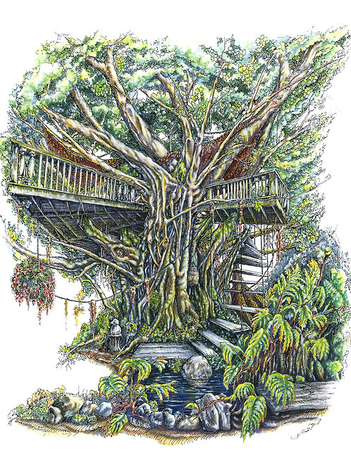 """Tree House"" Full Color Card"