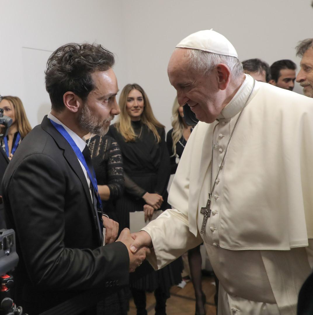 Antonio Del Prete meet Pope Francis in Vatican City