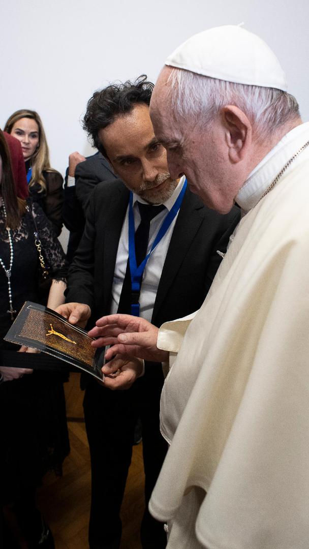 Pope Francis Bergoglio meeting with Antonio Del Prete