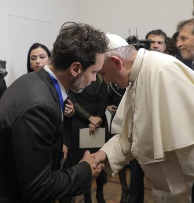 Antonio Del Prete and Pope Francis.