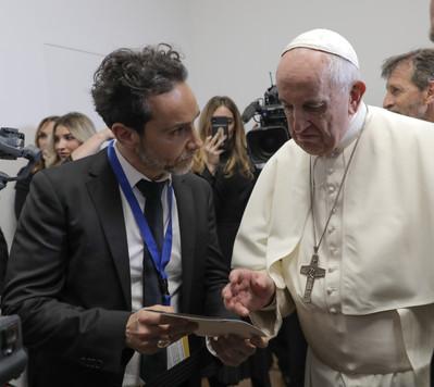 Antonio Del Prete with Pope Francis