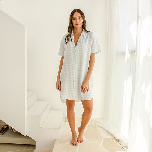 Ivy Bamboo Shirt Dress - Pale Blue Gingham