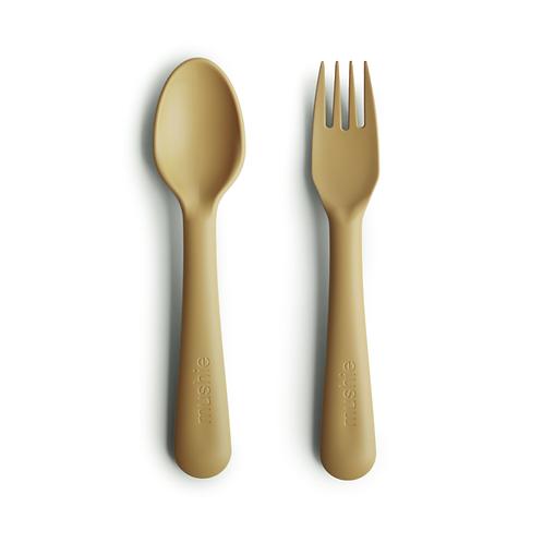 Mushie - Fork and Spoon Set (Mustard)