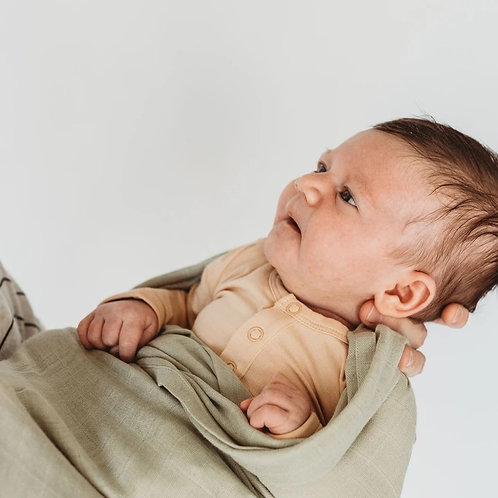 BABY SWADDLE/WRAP - ORGANIC BAMBOO MUSLIN - SAGE