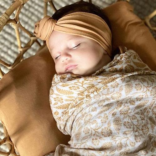 BABY SWADDLE/WRAP - ORGANIC BAMBOO MUSLIN - GINGER BOHO