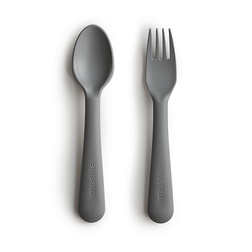 Mushie - Fork and Spoon Set (Smoke)
