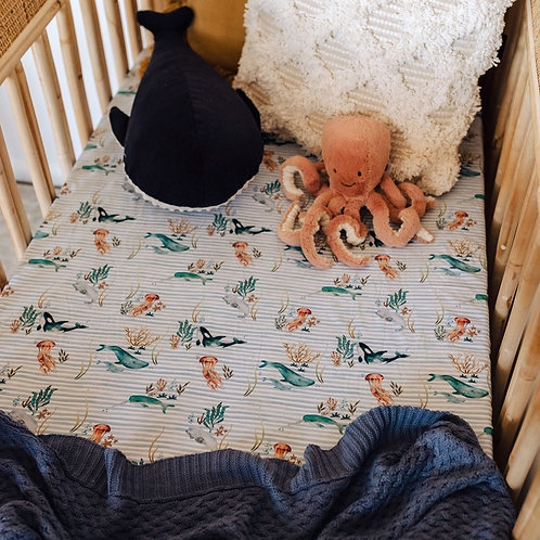 Snuggle Hunny Kids -  Whale | Fitted Cot Sheet