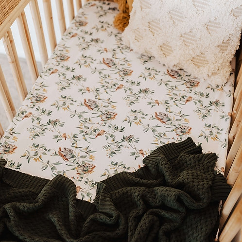Snuggle Hunny Kids - Eucalypt   Fitted Cot Sheet