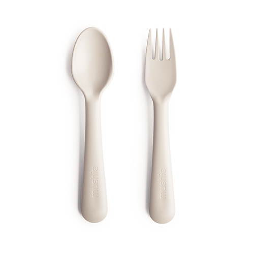 Mushie - Fork and Spoon Set (Ivory)