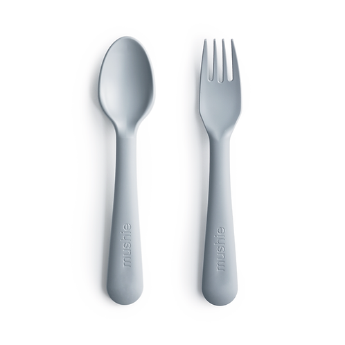 Mushie - Fork and Spoon Set (Cloud)