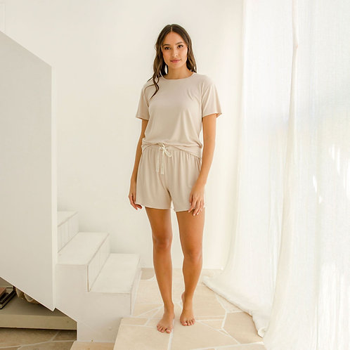 Harriet Ribbed Bamboo Jersey - Sand Set