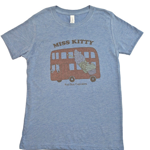 Youth size MK retro look tee in blue