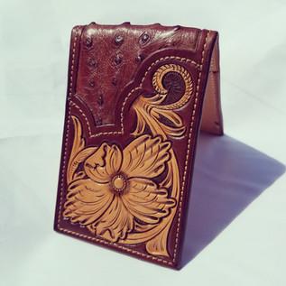 Ostrich inlay 2 pocket money clip