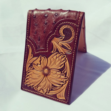 Ostrich inlay 2 pocket money clip