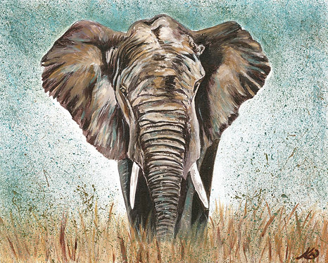 Majestic African Elephant,  Mounted Limited Edition  Giclee Print