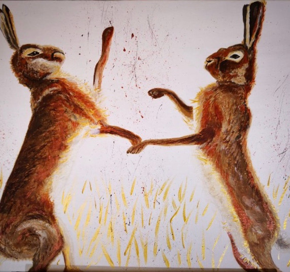 Boxing Hares, acrylic on canvas.