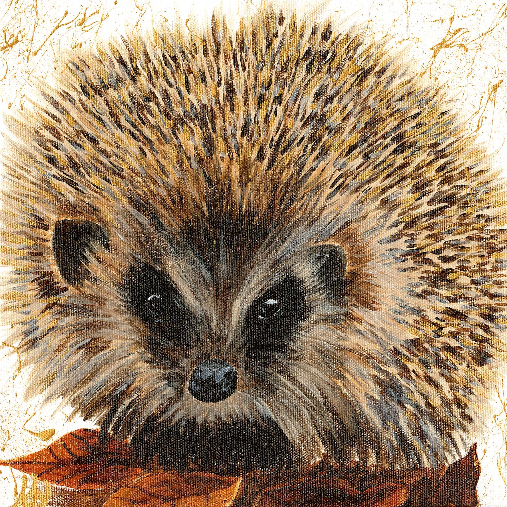 Autumn Hedgehog V. Acrylic on Canvas_