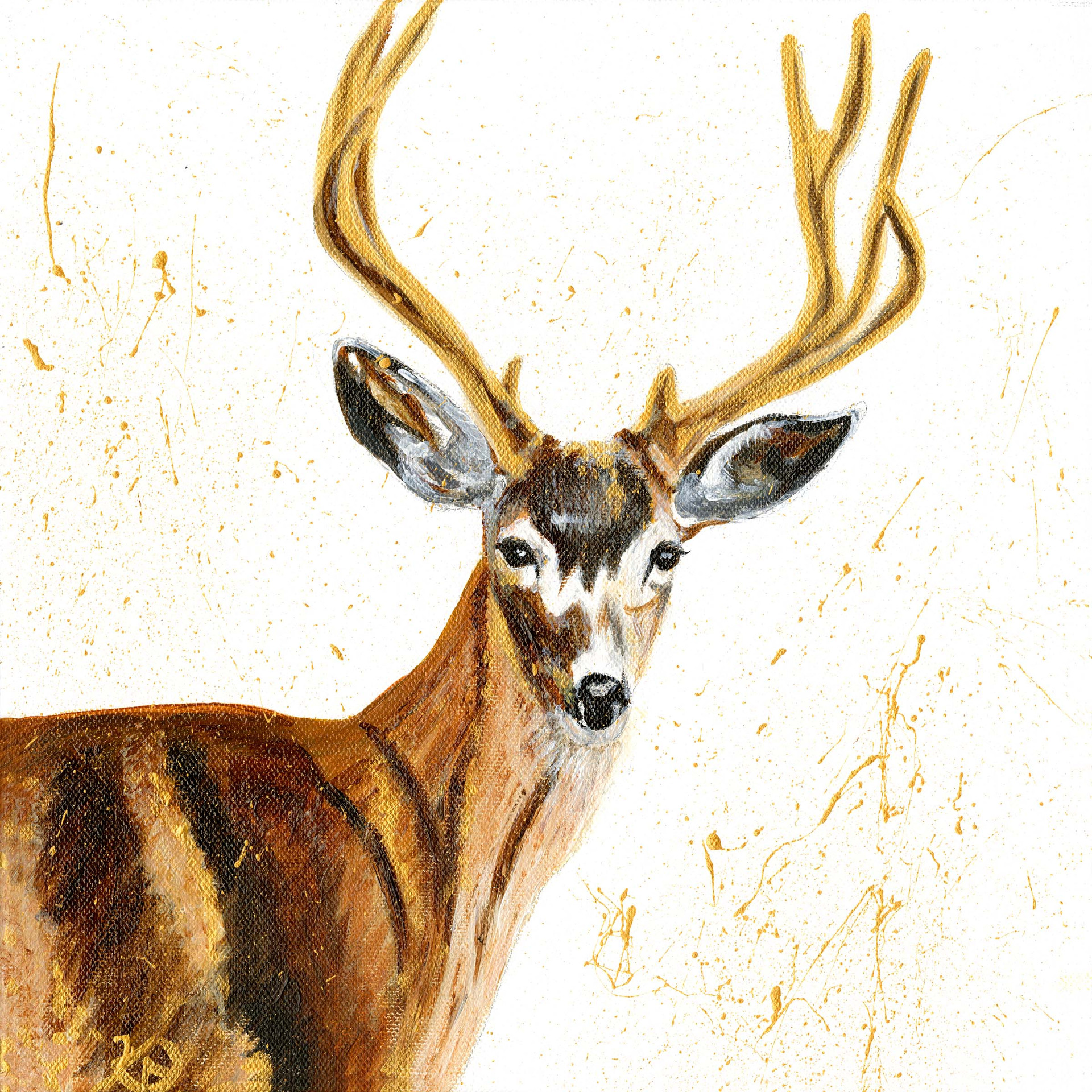 Winter stag 2 with gold gesso.