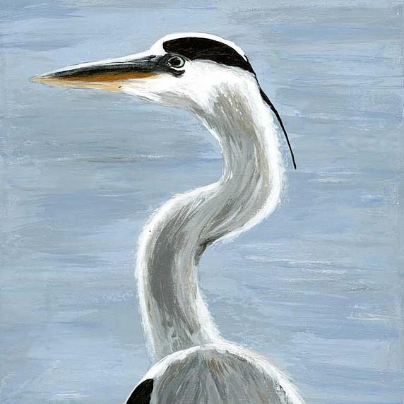 Heron, acrylic on canvas.