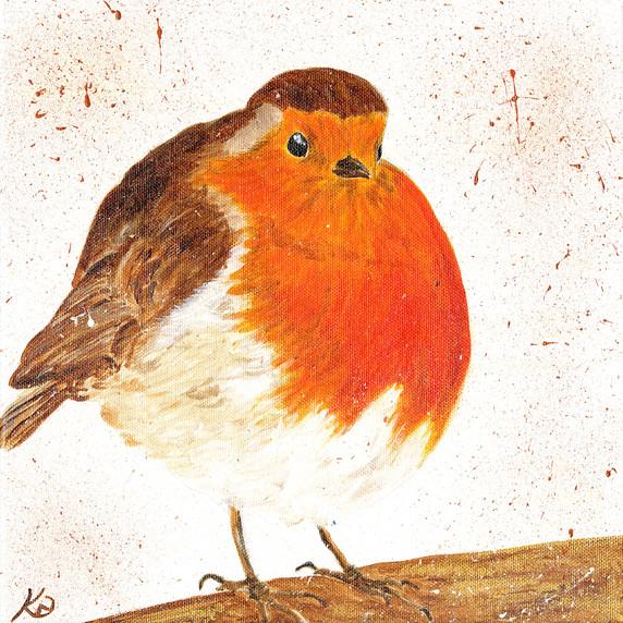 Rotund Winter Robin, Acrylic on canvas.