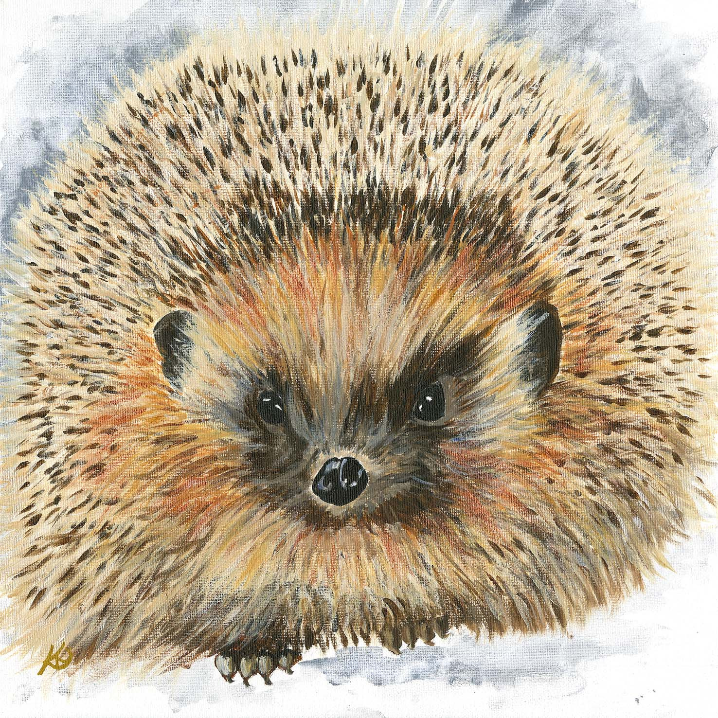 Darling autumn hedgehog, acrylic on canvas