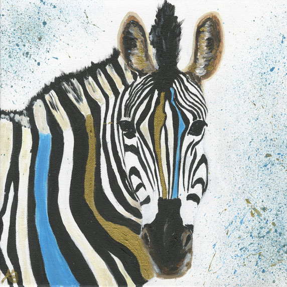 Turquoise and Gold Zebra