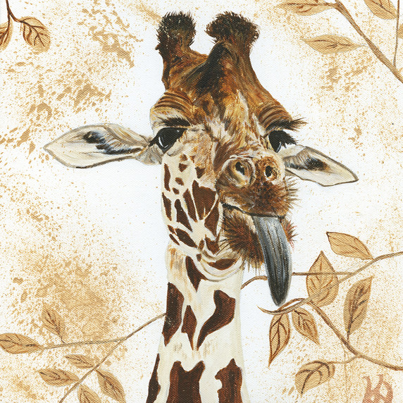 Cheeky Giraffe with gold leaves