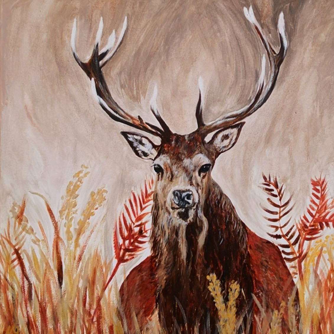 Stag in Autumn Ferns, Acrylic on canvas