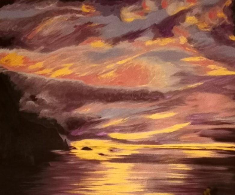 Sunset at Lee bay. Original .£550 . Acrylic on Canvas.