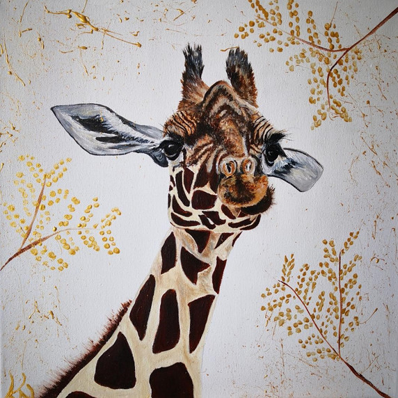GIraffe with Gold Gesso Leaves. Acrylic on Canvas, Original 16x 16''.