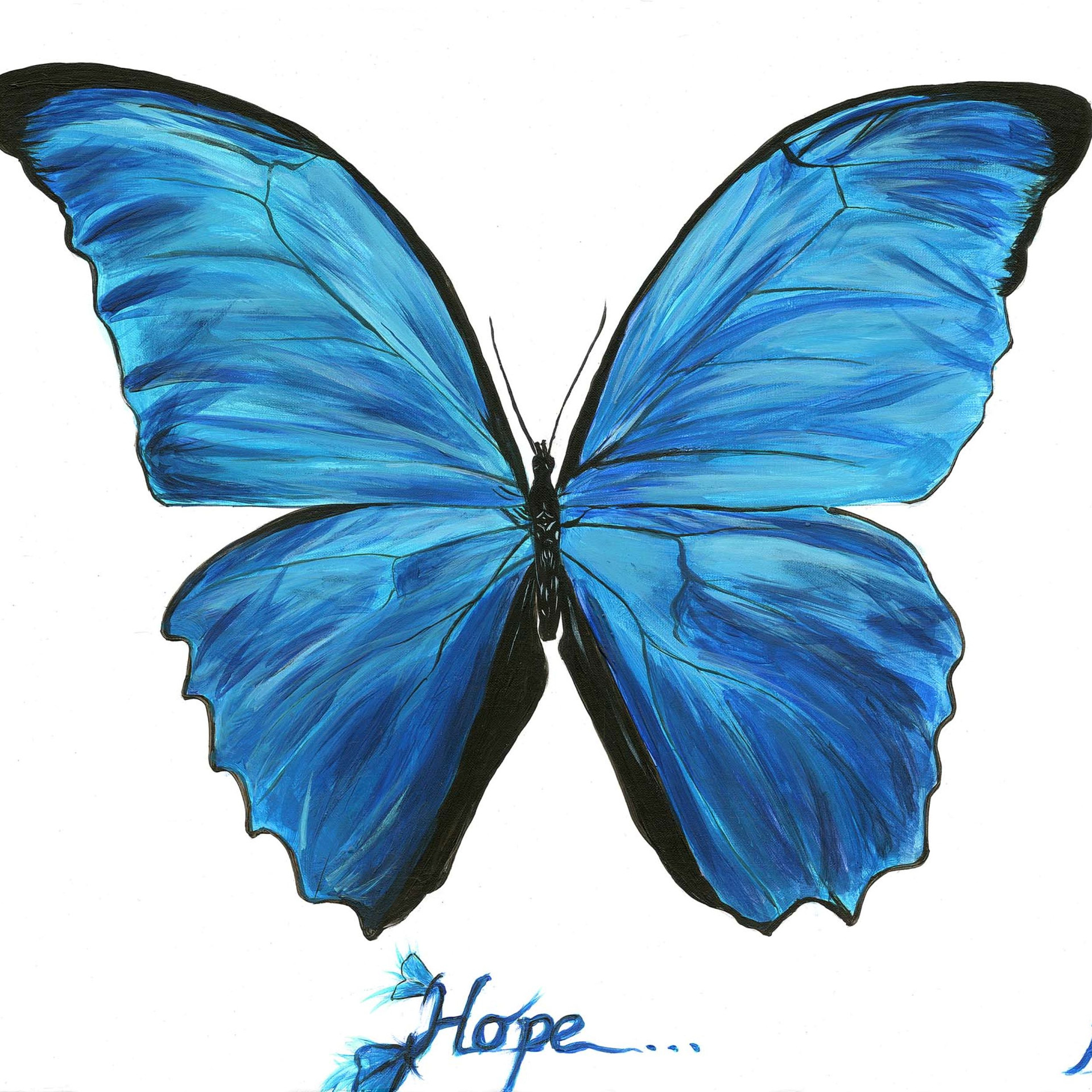 Blue Morpho, Butterfly of Hope , acrylic