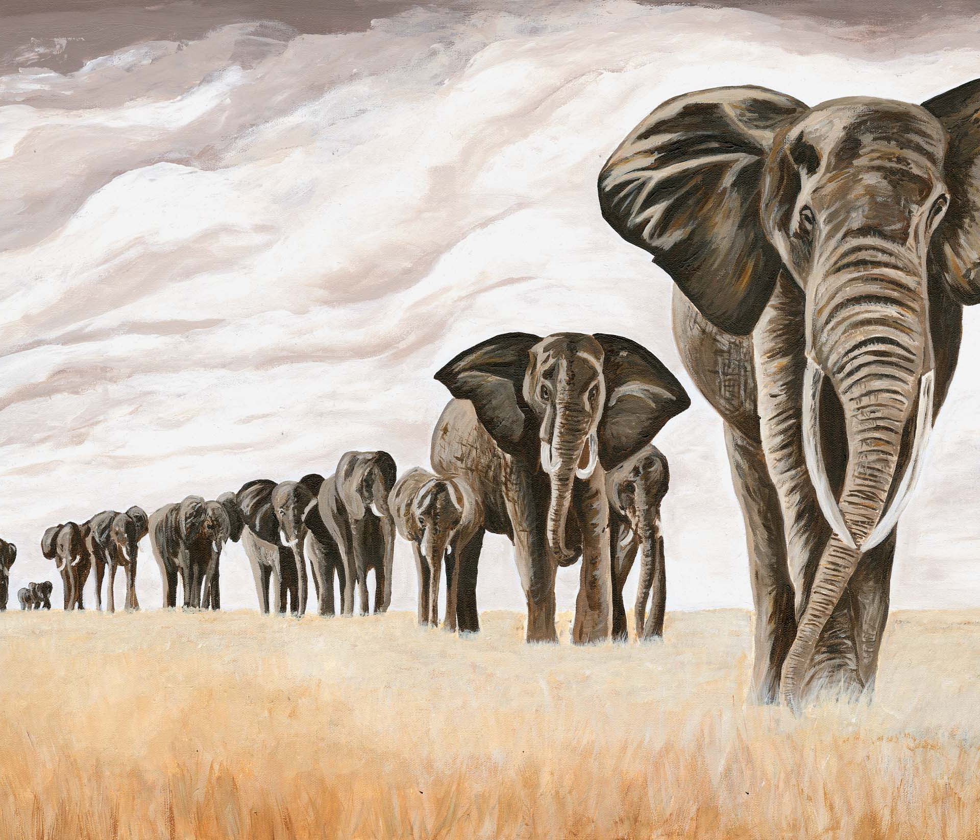 Elephants on Safari 80 x60 cm, Katie Nathan