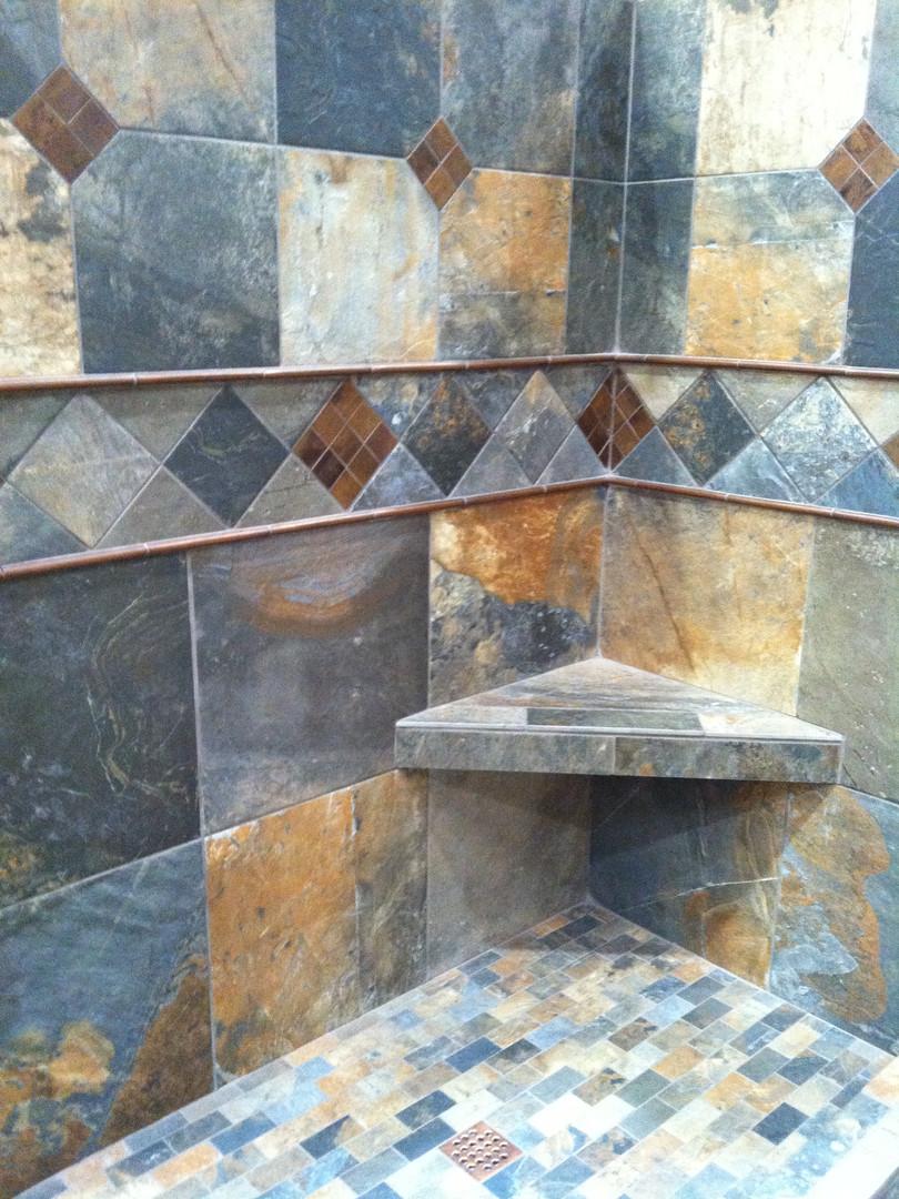 Blue & Gold Shower Tile