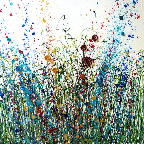 Original Floral Abstract Painting on Stretched Canvas -Summer Meadow