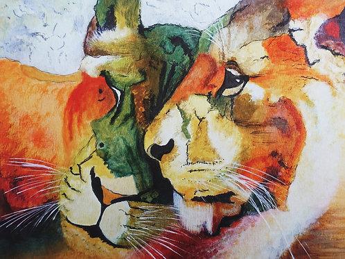 Contented Lions Fine Art Giclée Print (Unframed)