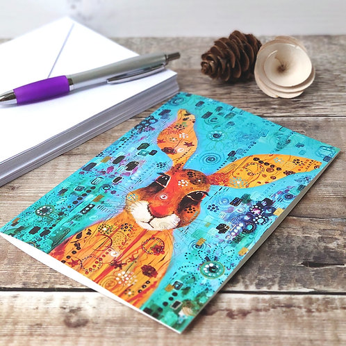 Single Greetings Card - Mad March Hare
