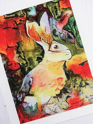 Cautious Hare Fine Art Giclée Print (Unframed)