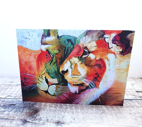 Single Greetings Card - Contented Lions