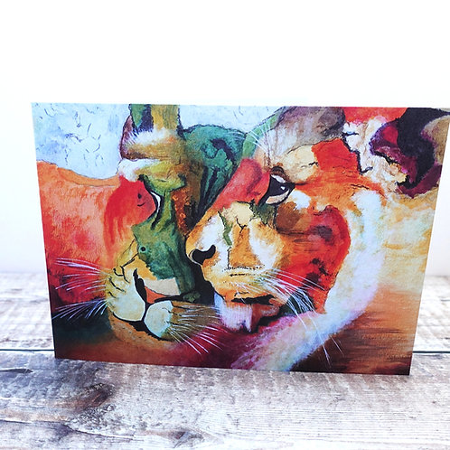 Single Greeting Card - Contented Lions