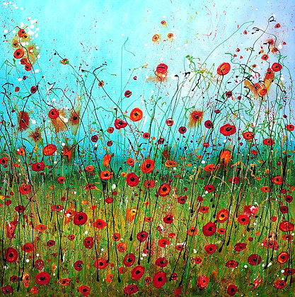 Original Abstract Meadow Painting on Stretched Canvas - Poppy Meadow