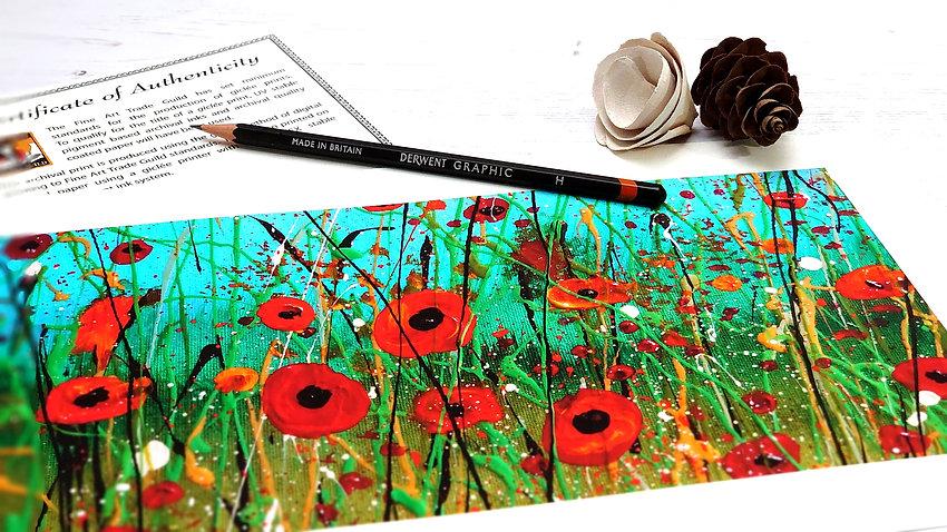 Fine art print of an original painting 'Poppy Meadow' by Jo Lewis