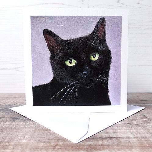 Single Greeting Card - Black Cat