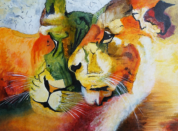Original Wildlife Painting (Unframed) - Contented Lions