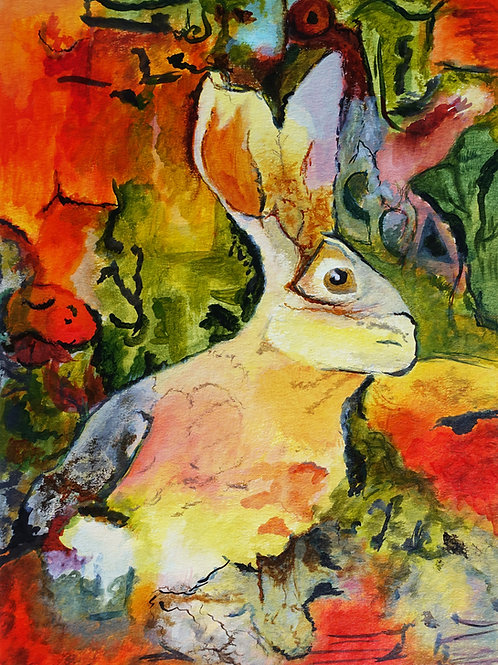 Original Wildlife Painting (Unframed) - Cautious Hare