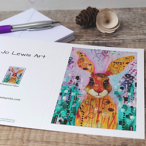 Single Greeting Card - Whimsical Hare