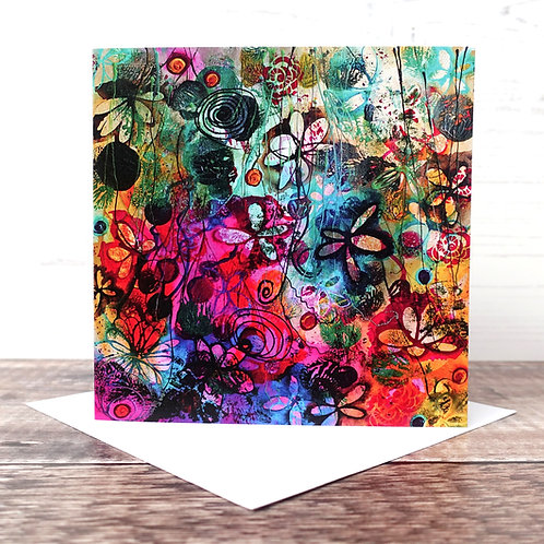 Single Greeting Card - Flower Forest
