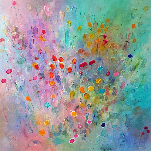 Original Floral Abstract Painting on Stretched Canvas - Garden of Hope