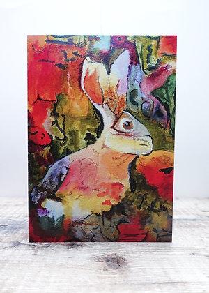 Single Greetings Card - Cautious Hare